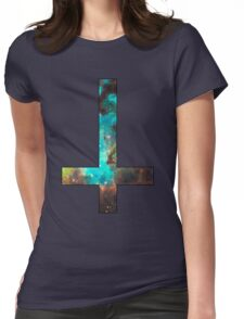 Green Galaxy Inverted Cross Womens Fitted T-Shirt
