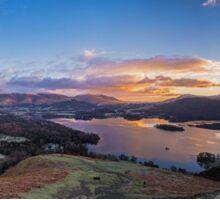 Panoramic Dawn over Derwent Water Sticker