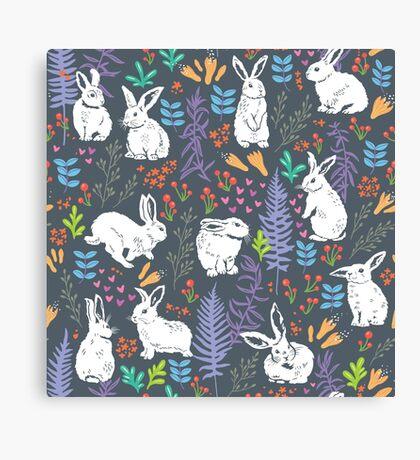 White rabbits Canvas Print