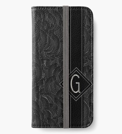 1920s Jazz Deco Swing Monogram black & silver letter G iPhone Wallet/Case/Skin