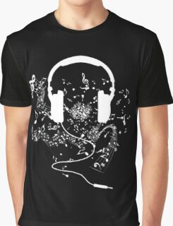 Headphones and music notes white Graphic T-Shirt