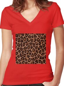 Brown Animal Print Women's Fitted V-Neck T-Shirt