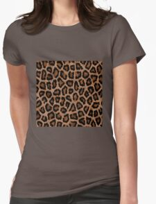 Brown Animal Print Womens Fitted T-Shirt
