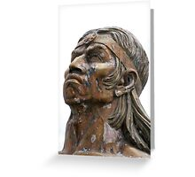 Weathered Statue of an Incan Warrior Greeting Card