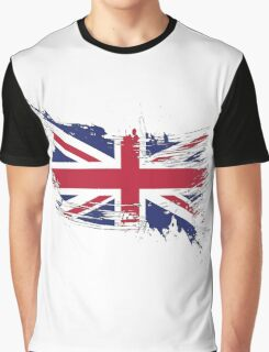 United Kingdom Flag Brush Splatter Graphic T-Shirt