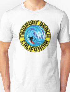 Surfer NEWPORT BEACH California Surfing Surfboard Waves Ocean Beach Vacation Unisex T-Shirt