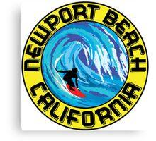 Surfer NEWPORT BEACH California Surfing Surfboard Waves Ocean Beach Vacation Canvas Print