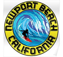 Surfer NEWPORT BEACH California Surfing Surfboard Waves Ocean Beach Vacation Poster