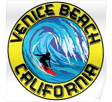 Surfer VENICE BEACH California Surfing Surfboard Waves Ocean Beach Vacation Poster
