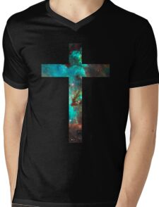 Green Galaxy Cross Mens V-Neck T-Shirt