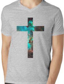 Green Galaxy Cross Mens V-Neck T-Shirt