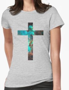 Green Galaxy Cross Womens Fitted T-Shirt
