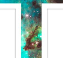 Green Galaxy Cross Sticker