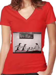 NYC Subway Penguins Women's Fitted V-Neck T-Shirt
