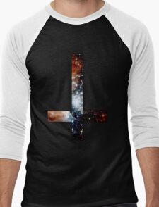 Red Galaxy Inverted Cross Men's Baseball ¾ T-Shirt