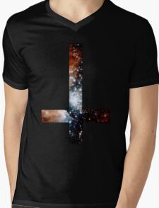 Red Galaxy Inverted Cross Mens V-Neck T-Shirt