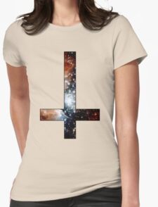 Red Galaxy Inverted Cross Womens Fitted T-Shirt
