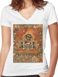 Mahakala Protector of the tent Women's Fitted V-Neck T-Shirt