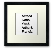 Hetalia Allies Helvetica list Framed Print