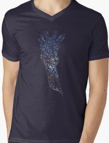 Blue Space Giraffe Mens V-Neck T-Shirt