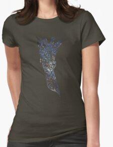 Blue Space Giraffe Womens Fitted T-Shirt