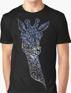 Blue Space Giraffe Graphic T-Shirt