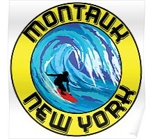 Surfing MONTAUK NEW YORK Surf Surfboard Waves LONG ISLAND Poster