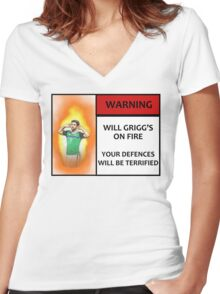 Will Grigg's on Fire! Your Defences Will Be Terrified Women's Fitted V-Neck T-Shirt