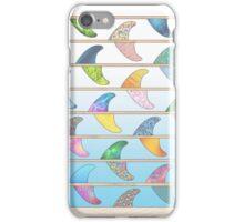 Summer Surfboard fins on a beach with a sea backgorund iPhone Case/Skin