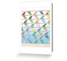 Summer Surfboard fins on a beach with a sea backgorund Greeting Card