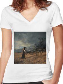 Spirits in the Black Mist Women's Fitted V-Neck T-Shirt