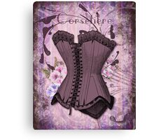 Corsetiere II Vintage elements fashion corset art Canvas Print