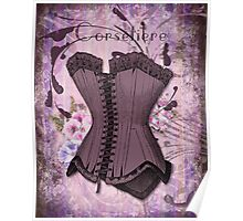 Corsetiere II Vintage elements fashion corset art Poster