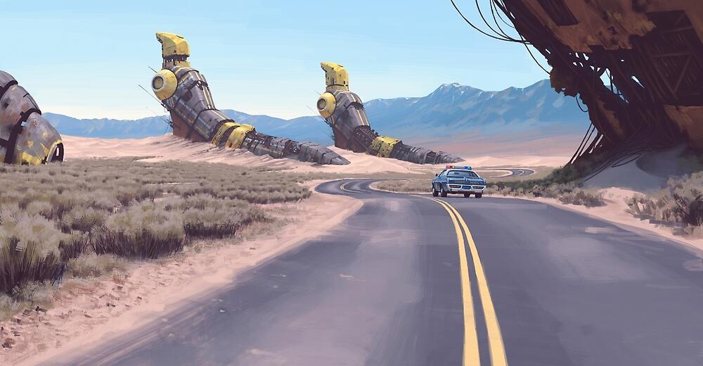 Highway Patrolman by Simon Stålenhag