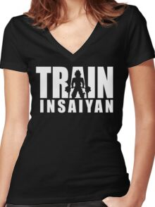 TRAIN INSAIYAN (Deadlift Iconic) Women's Fitted V-Neck T-Shirt