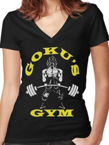 Goku's Gym (White and Yellow) Women's Fitted V-Neck T-Shirt