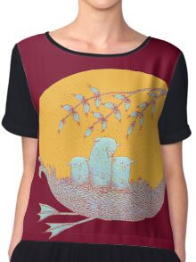 Sweet Dreams of the Owl Pups on their Night Journey Women's Chiffon Top