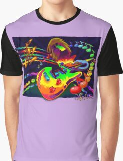 Psychedelic Guitar Print Graphic T-Shirt