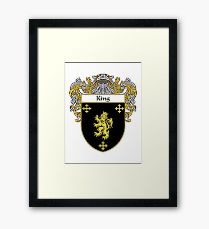 King Coat of Arms/Family Crest Framed Print