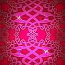 A Celtic Knotwork design in red & mauve by Dennis Melling