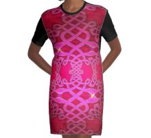 A Celtic Knotwork design in red & mauve Graphic T-Shirt Dress