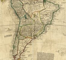 Vintage Map of South America (c. 1712) Sticker