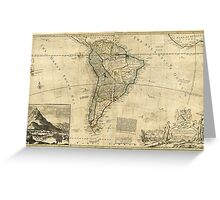 Vintage Map of South America (c. 1712) Greeting Card