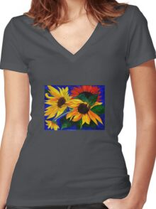 Sunflower Sisters Women's Fitted V-Neck T-Shirt