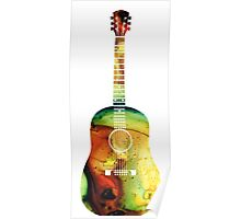 Acoustic Guitar - Colorful Abstract Musical Instrument by Sharon Cummings Poster