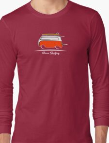 Red Van Gone Surfing White Outline Long Sleeve T-Shirt