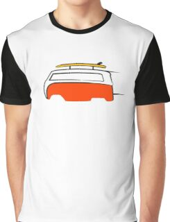 Red Van Gone Surfing White Outline Graphic T-Shirt
