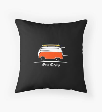 Red Van Gone Surfing White Outline Throw Pillow