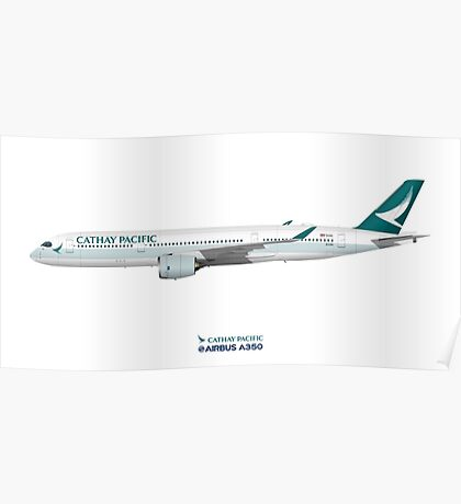 Illustration of Cathay Pacific Airbus A350 Poster