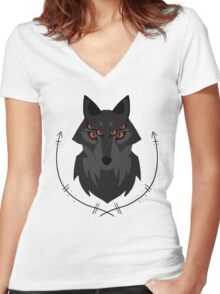 Dread Wolf Women's Fitted V-Neck T-Shirt